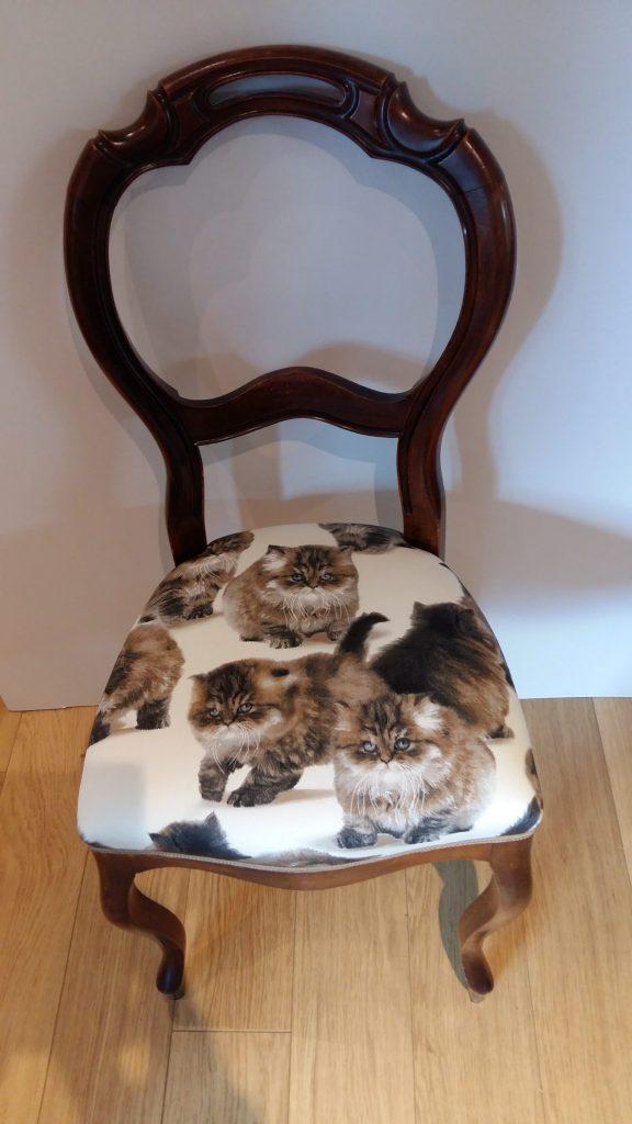 eetkamerstoel met kattenstof